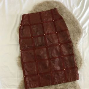 escada lammnapa riveted brown leather skirt Sz 40